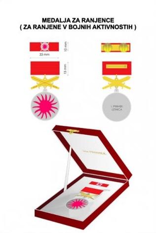 Medalja za ranjence - Podeljena je 1 medal